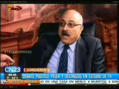 Jordania:Debate politico pelea y destrozos en estudiosd de tv