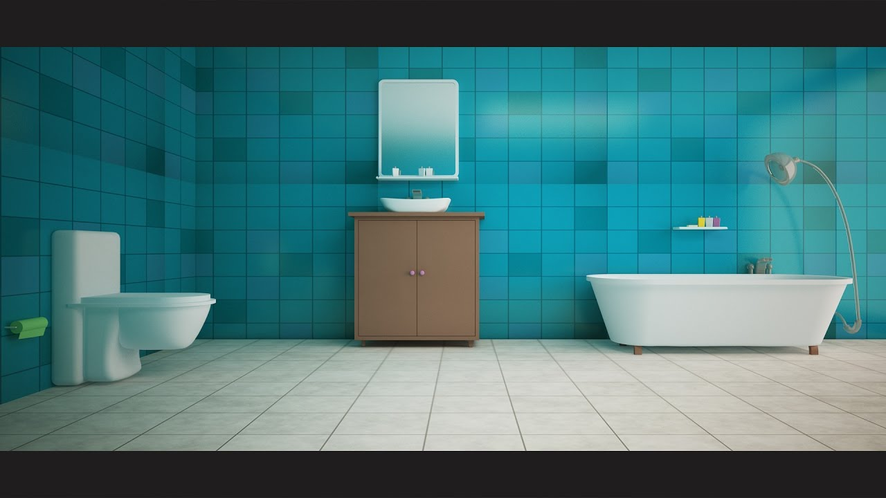 3ds max bathroom modeling texturing vray for Bathroom design 2d