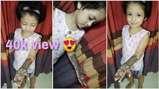 Cute girl henna design || kids mehndi design for hands || by arwin
