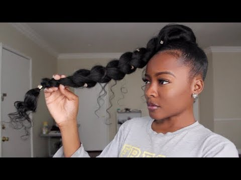 Jumbo Braid Goddess Ponytail Natural Hair Youtube