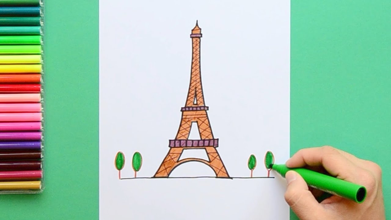 - How To Draw The Eiffel Tower, Paris - YouTube