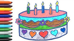 Menggambar Dan Mewarnai Kue Ulang Tahun Belajar Mengenal Warna