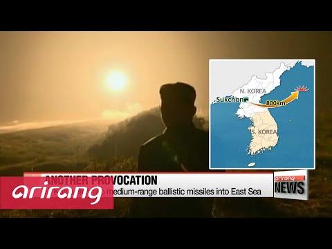 N. Korea fires two medium-range ballistic missiles into East Sea