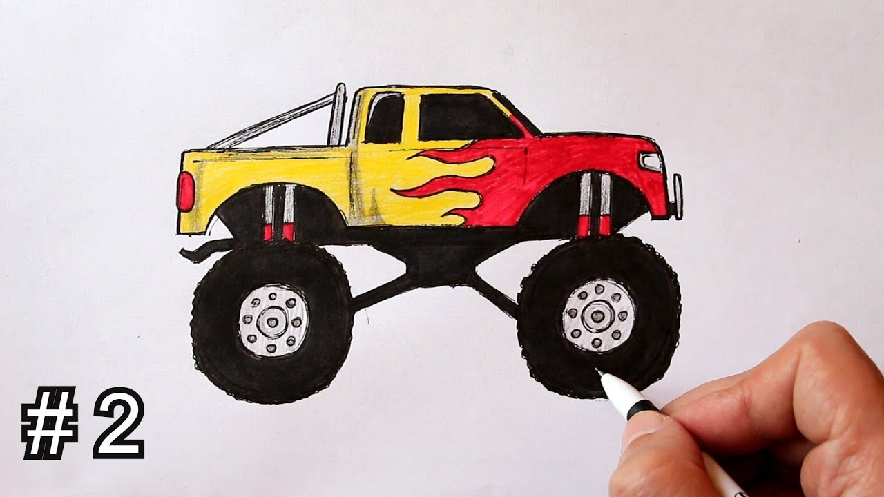 How To Draw And Color A Monster Truck Easy Part 2 Youtube