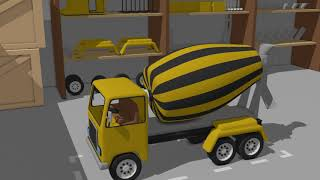Garage for Construction Vehicles - Excavator & Concrete Mixer & Truck  Colorful fairy Tales for Kids