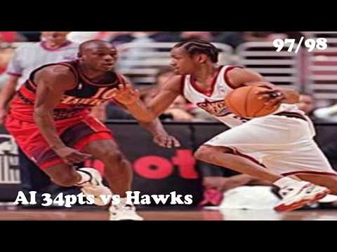 Young Allen Iverson 76ers vs the Hawks  34pts 10asts FULL Highlights 97/98 NBA