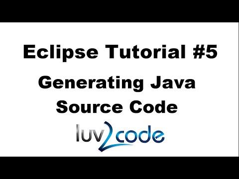 Java Eclipse Tutorial - Part 5: Generating Java Source Code