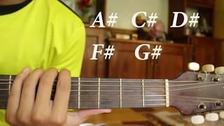 belajar chord gitar a# c# d# f# g#