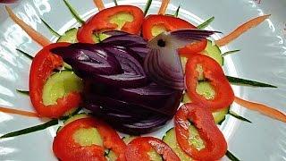 Птица из лука! Bird of onions! Украшения из овощей! Decoration of vegetables!