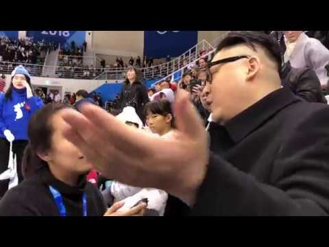 North Korean cheerleaders caught off guard by fake Kim Jong