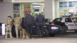SWAT Team Takes Down Suspect Barricaded In Gas Station - Modesto, California