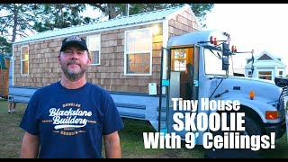 9 FOOT CEILINGS in this CREATIVE Tiny House Skoolie!
