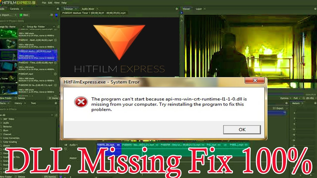 Api-ms-win-crt-runtime-[1-1-0.dll is missing from your computer||Hitfilm express solve system error