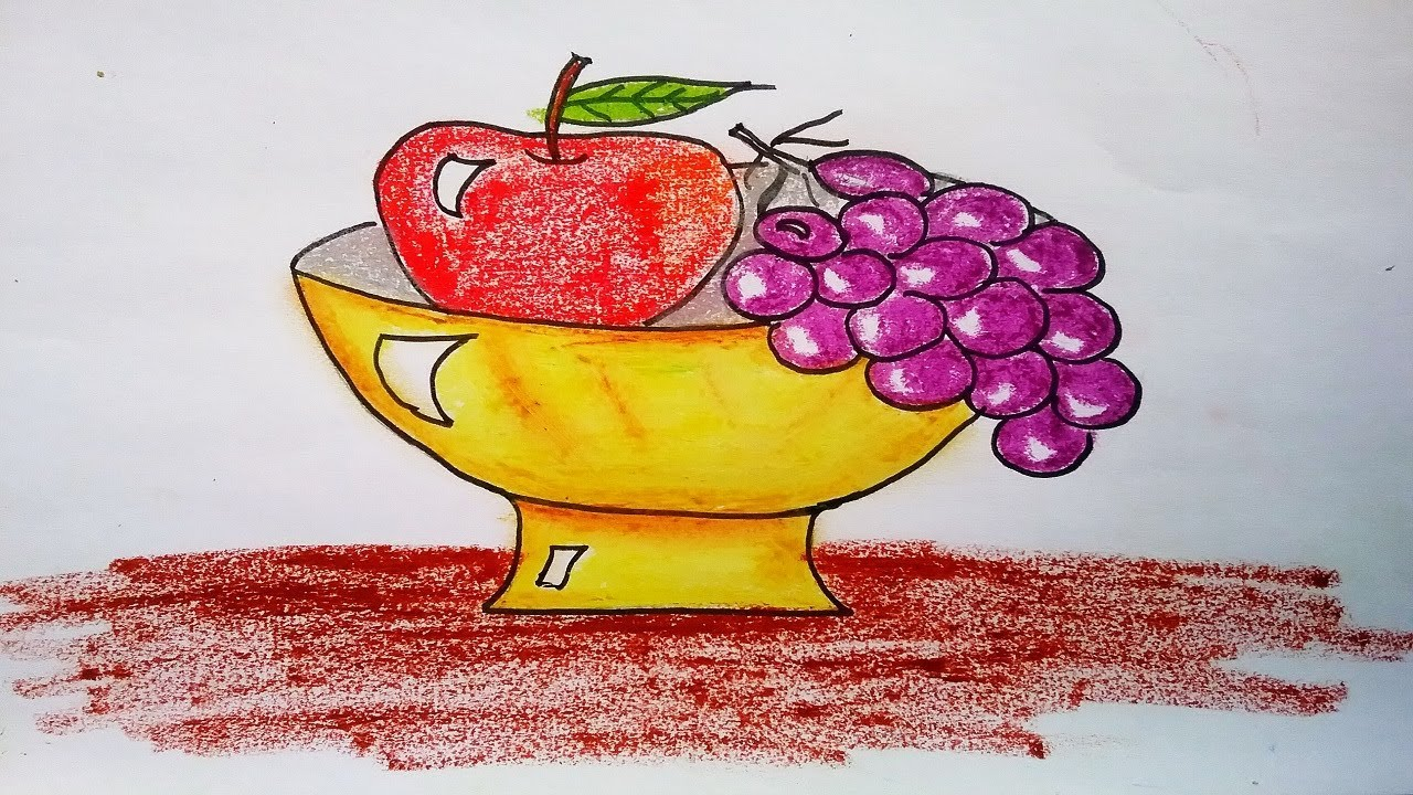 How to draw apple and grapes , fruit bowl easy drawing ...
