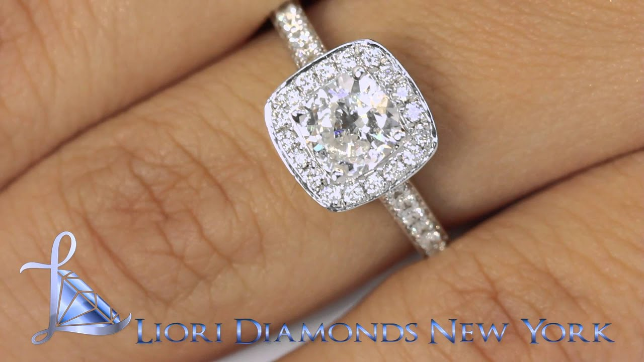 Ersold167  133 Carat Dvs2 Cushion Cut Diamond Engagement Ring 18k Pave Halo  Vintage Style