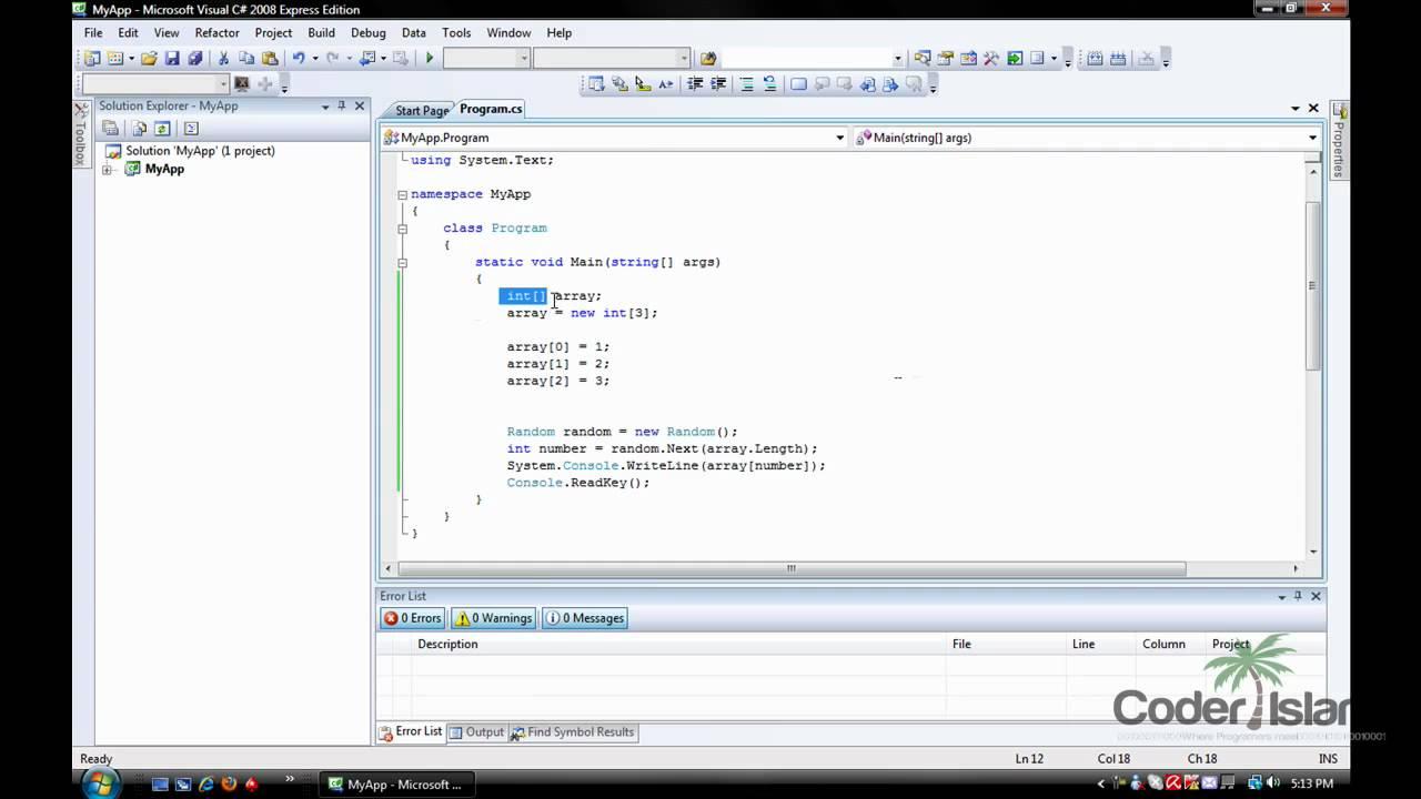 Visual C# Console Tutorial - Generating Random Numbers & Array Value's