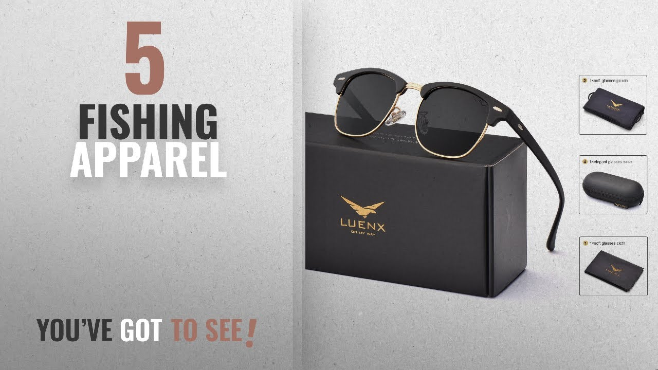 a8cbb9d827 Top 10 Fishing Apparel  2018   LUENX Men Women Clubmaster Polarized ...