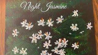 Shiuli Phool, night flowering jasmine acrylic art