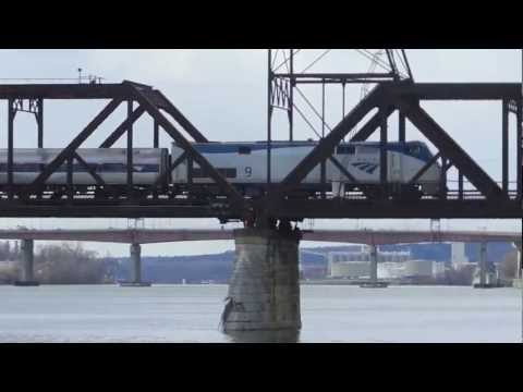 Amtrak 9 leads train 63 over Hudson River, Albany, NY