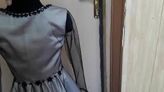 Стильное Платье для девочки, юбка сонце, сетка и украшено черными пайетками кружевом и камнями.