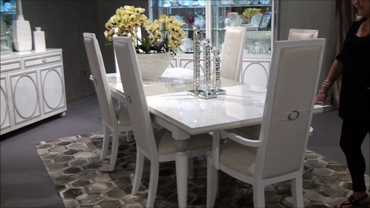 Sky Tower Rectangular Dining Room Set In White By Michael Amini Furniture