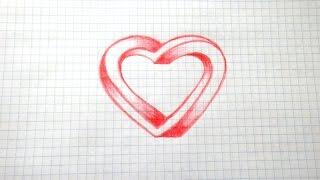 Как нарисовать иллюзию 3D Сердце #63 / How to draw illusion 3D Heart(Все Видео Канала Рисуем Просто: https://www.youtube.com/channel/UCAELj3U5vke9DhuTJIabMGw Спасибо за просмотр! All Video Channel Just Draw: ..., 2016-11-09T07:22:05.000Z)