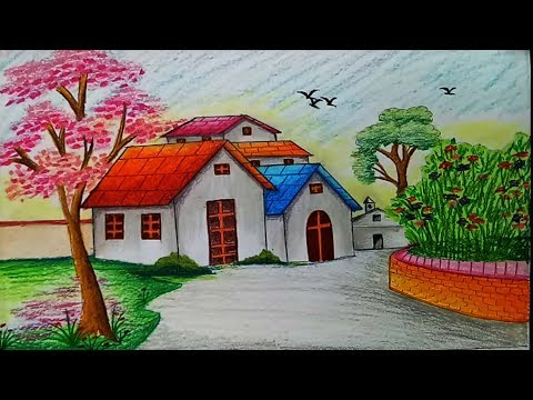 How To Draw Landscape Scenery Of Spring Season With Oil Pastels