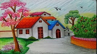 How to draw landscape / scenery of spring season with oil pastels.Step by step(easy draw)