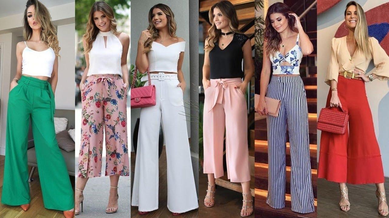 Pantalones De Moda Y Tendencia 2020 Looks Casuales Y Elegantes Con Palazos Largos Y Cortos Youtube