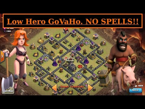 GoVaHo. Low Hero vs HIGH TH9.  No Spells 3 STAR ATTACK. Hogs + Valks. Clash of Clans WAR