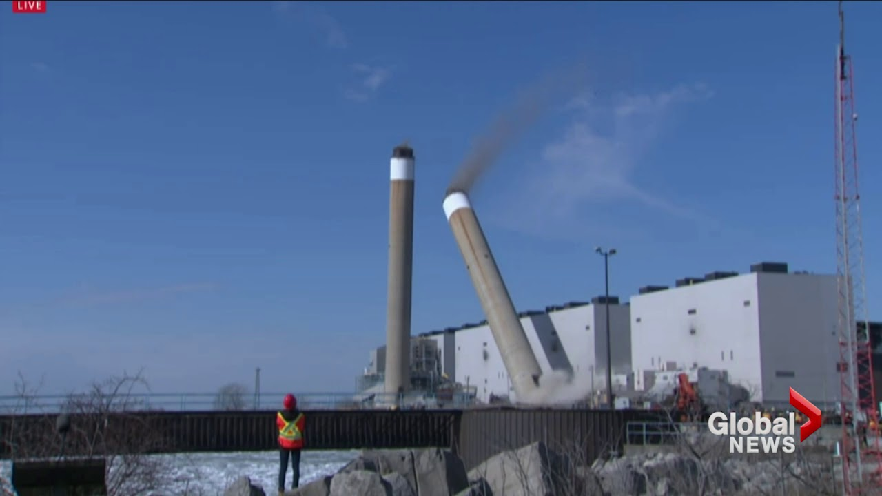 Twin chimneys demolished at nanticoke station near lake for Twin chimneys