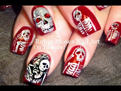 Halloween Nails | DIY Skeletons in a Mirror Nail Art Design Tutorial |
