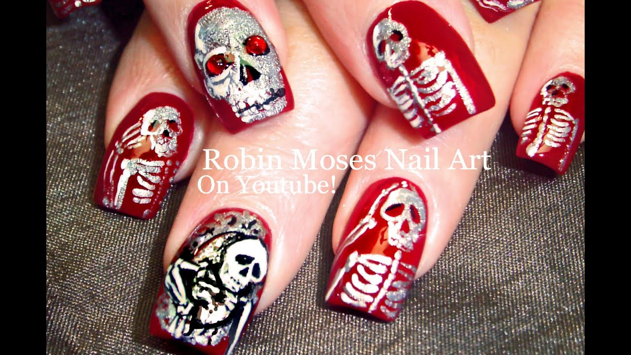 Halloween Nails | DIY Skeletons in a Mirror Nail Art Design Tutorial | -  YouTube - Halloween Nails DIY Skeletons In A Mirror Nail Art Design