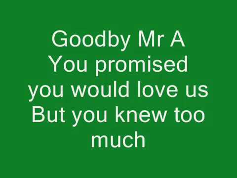The Hoosiers-Goodbye Mr A Lyrics