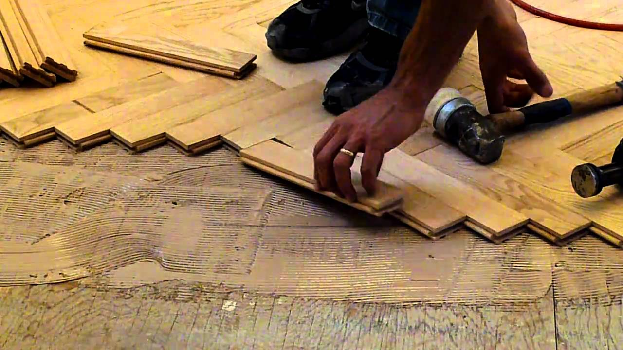 Installing hardwood red oak herringbone floor nj for Laying hardwood floors