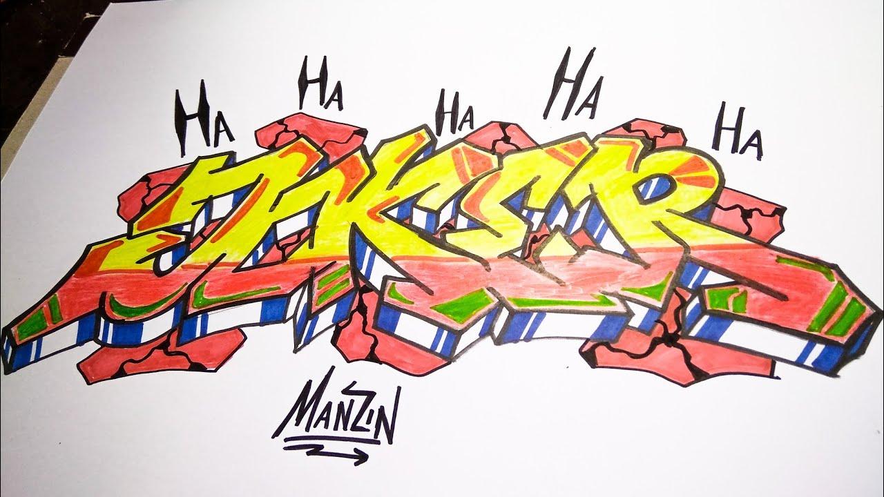 How To Draw Graffiti Joker Cara Menggambar Graffiti Joker Youtube