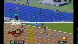 Final Golden League Berlin 2004. 400m Women Ana Guevara vs Tonique Williams