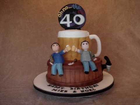 40th Fondant Birthday Cake With Beer Theme