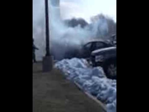Car on fire at panera bread 2/23/13 in Terre Haute