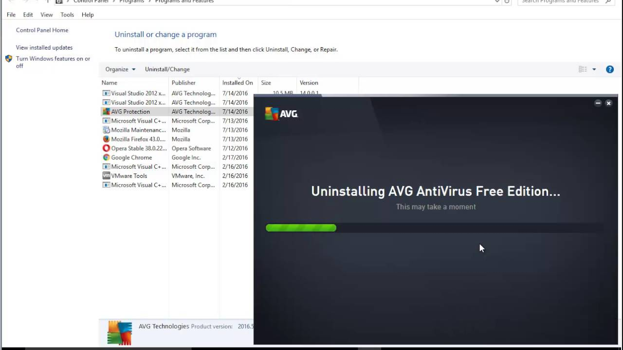 How to uninstall avg antivirus