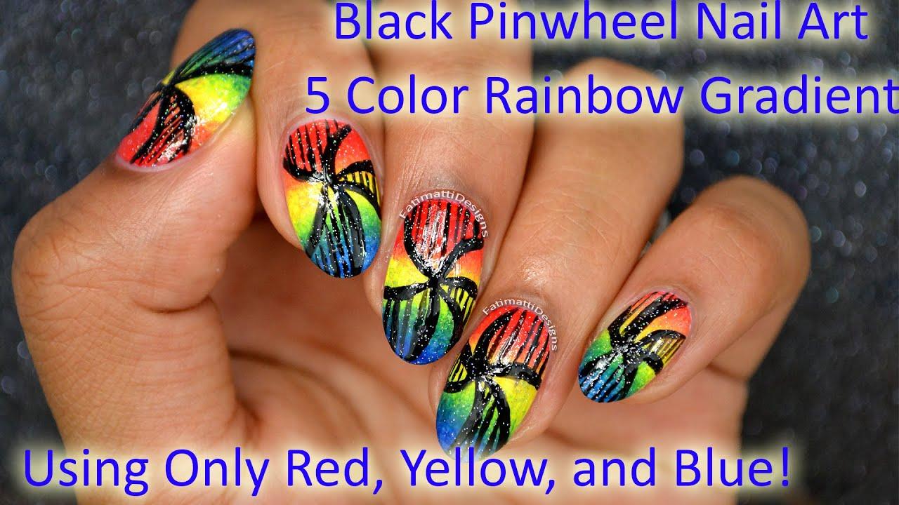 Diy Black Pinwheel Nail Art On Rainbow Gradient Using Only Red