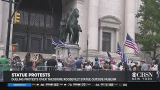 Dueling Protests Held Over Teddy Roosevelt Statue