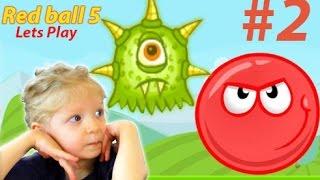 Игра Red Ball 5 или Красный шар 5 против паучков ЧАСТЬ #2. Игра мультик для детей