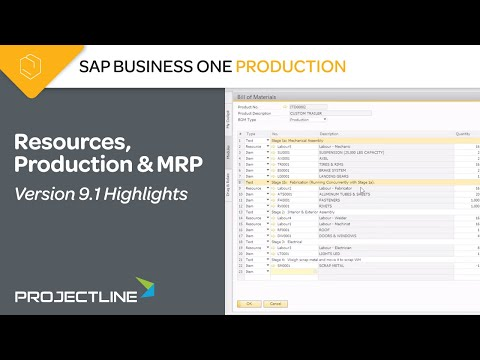 SAP Business One version 9.1: Resource, Production & MRP