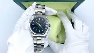 Vidéo: Montre Rolex Oyster Perpetual (ref 5500) de 1959 en acier avec cadran noir. Automatique. Boite Rolex.