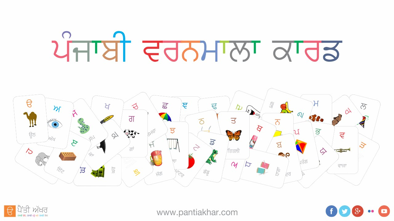 punjabi alphabet - flash card