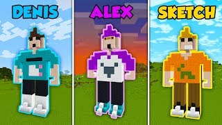 DENIS vs ALEX vs SKETCH - ROBLOX CHARACTERS in Minecraft! (The Pals)
