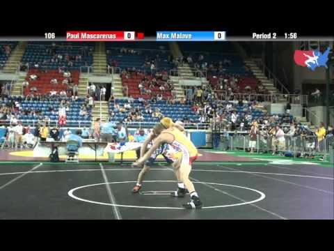 Fargo 2012 106 Round 2: Paul Mascarenas (New Mexico) vs. Max Malave (Illinois)