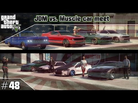 GTA 5 Online JDM vs. Mucle/Domestic car meet #48 (PS3) / Tuning-Treffen