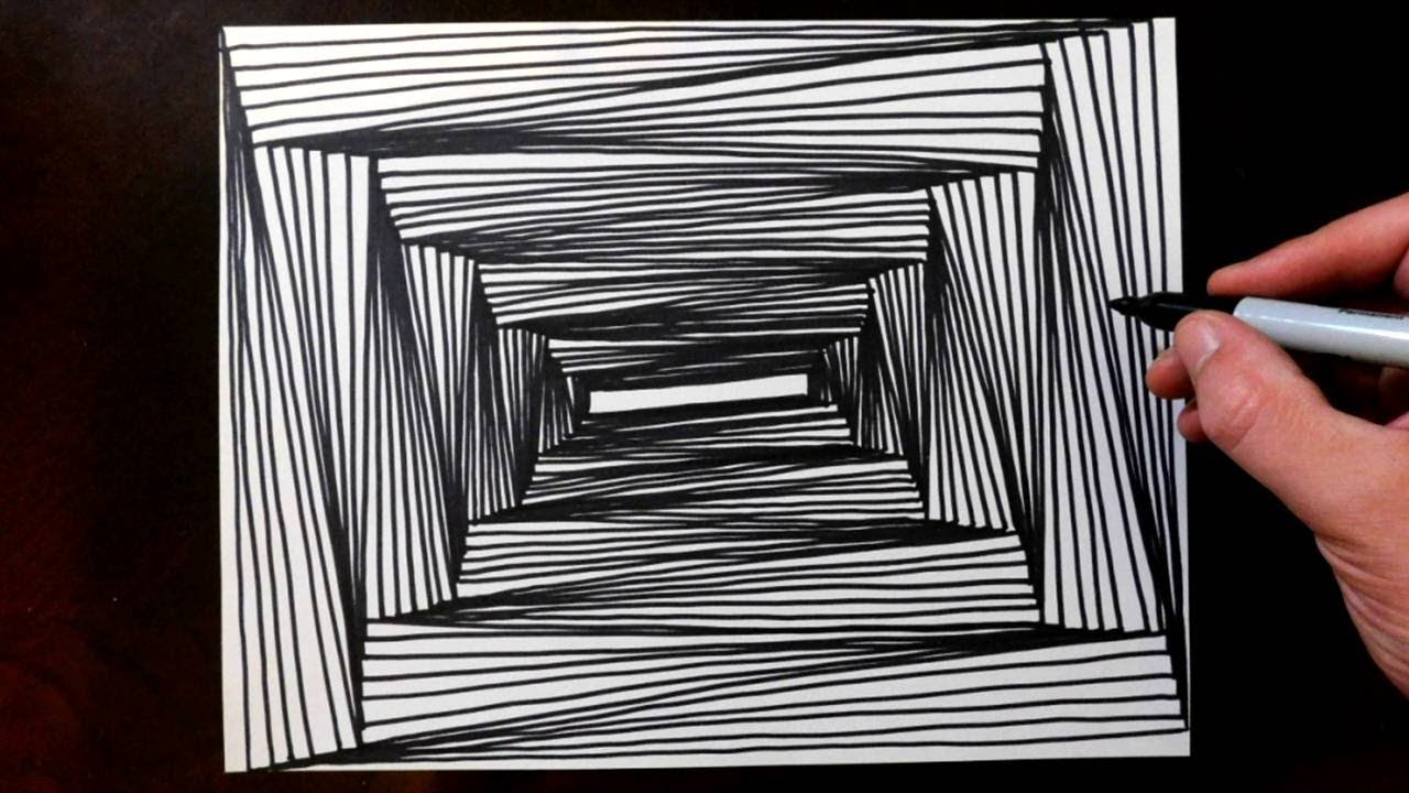 line illusions draw perspective point